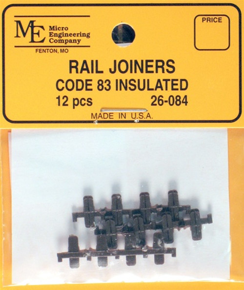 Micro Engineering HO 26-084 Code 83 Plastic Insulated Rail Joiners (6 Pair)