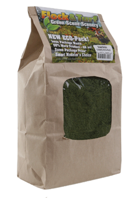 Scenic Express EX880E Flock and Turf Ground Cover, Green Grass Blend 48 oz. ECO Pack
