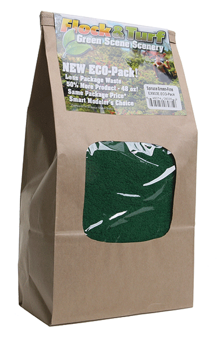 Scenic Express EX803E Flock and Turf Ground Cover, Spruce Green Fine 48 oz. ECO Pack