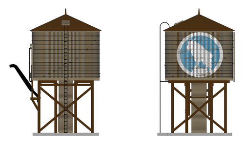 Broadway Limited Imports HO 6098 Operating Water Tower with Sound, Great Northern (Weathered Brown) (d)