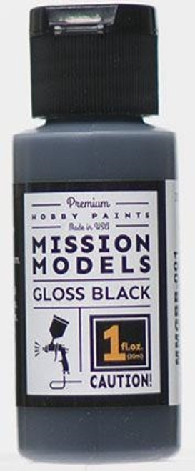 Mission Models MMGBB-001 Hobby Paint, Gloss Black Base for Chrome (1 oz.)