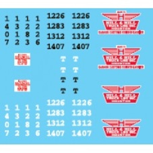 Lonestar Models HO 12024 Vehicle Decal Set, Hill & Hill Truck Lines