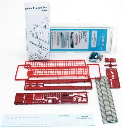 Lonestar Models HO 5000 Trailmobile 40' Flatbed Trailer Kit, Standard Red