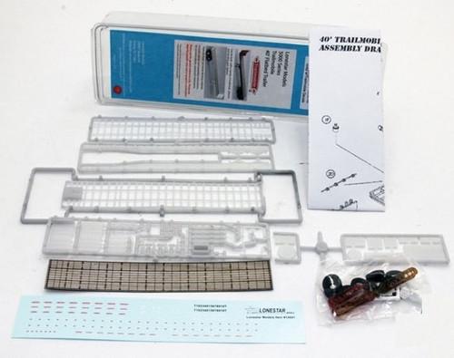Lonestar Models HO 5009 Trailmobile 40' Flatbed Trailer Kit, Black