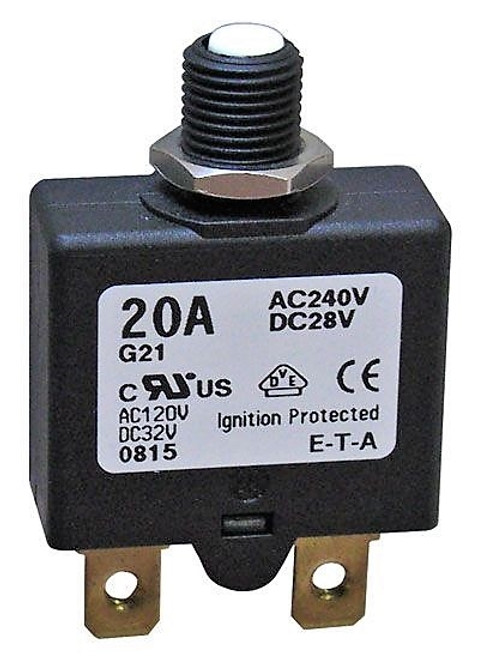 A.E. Corporation CB-1620 20-Amp Push-to-Reset Circuit Breaker