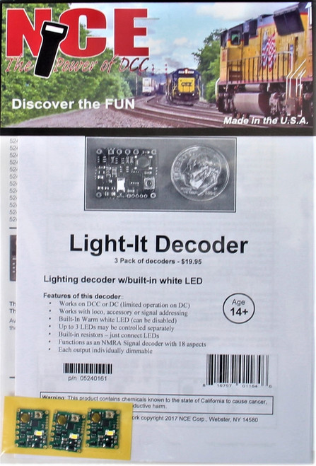 NCE 524161 Light-It Decoder with Built-In White LED (3-Pack)