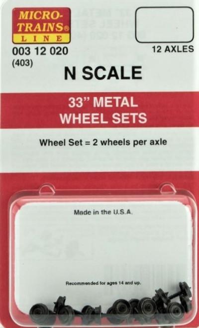 "Micro-Trains N 00312020 (403) 33"" Metal Wheel Sets (12)"