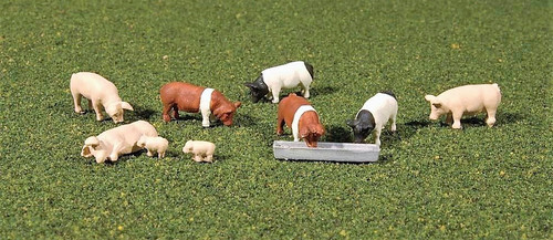 Bachmann HO SceneScapes 33118 Assorted Pigs (9)