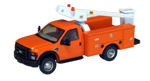 "River Point Station HO 536572609 Ford F-450 XL Bucket Truck, Regular Cab with Dual Rear Wheels (Orange with Black Grille and Bumpers, 17"" Argent Wheels)"
