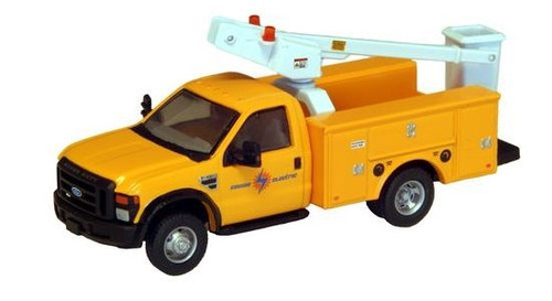 "River Point Station HO 538572658 Ford F-450 XL Bucket Truck, Regular Cab with Dual Rear Wheels, Edison Electric (Yellow with Black Grille and Bumpers, 17"" Argent Wheels)"