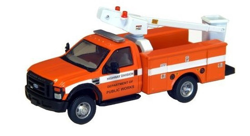 "River Point Station HO 538572663 Ford F-450 XL Bucket Truck, Regular Cab with Dual Rear Wheels, Department of Public Works (Orange with Black Grille and Bumpers, 17"" Argent Wheels)"