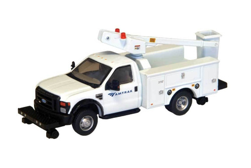 """River Point Station HO 538572990 Ford F-450 XL Hi-Rail Bucket Truck, Regular Cab with Dual Rear Wheels, Amtrak (White with Black Grille and Bumpers, 17"""" Argent Wheels)"""