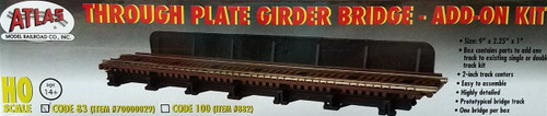 Atlas HO 70000029 Code 83 Through Plate Girder Bridge Kit, Single Track Add-On