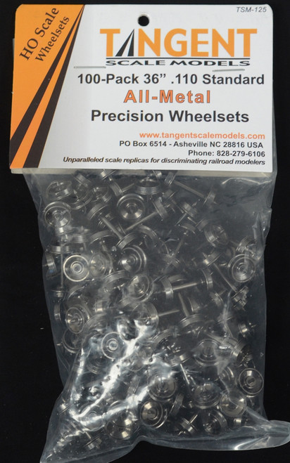 """Tangent Scale Models HO 125 36"""" Normal Tread All-Metal Precision Wheelsets (100-Pack)"""