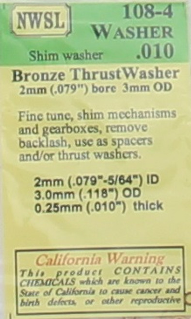 "NWSL 108-4 Thrust Washer, Bronze, 2mm x 3mm x .010"" (8)"