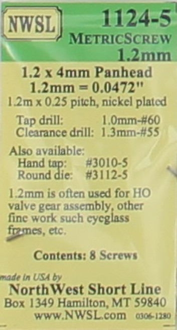 NWSL 1124-5 Cross Panhead Screw, Nickel Plated, .2 x 4mm x 0.25 (8)