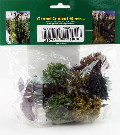 """Grand Central Gems T55 Green Decidious Trees, 3"""" (10)"""