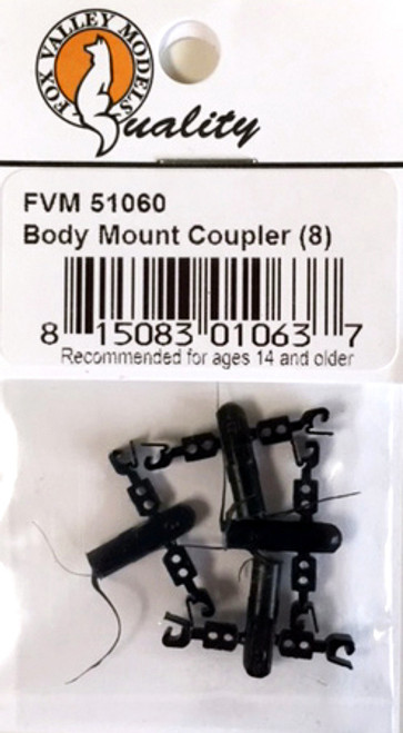 Fox Valley Models HOn3/N 51060 Body Mount Knuckle Couplers, Black (8)