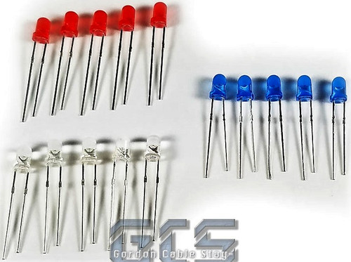 Gordon Cable Stay BRWLED Blue, Red, White LEDs (15 Pack)