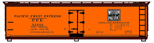 Accurail HO 4823-2 40' Wood Refrigerator Car Kit, Western Pacific (PFE) #52493