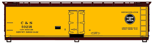 Accurail HO 4841-1 40' Wood Refrigerator Car Kit, Colorado and Southern #50218