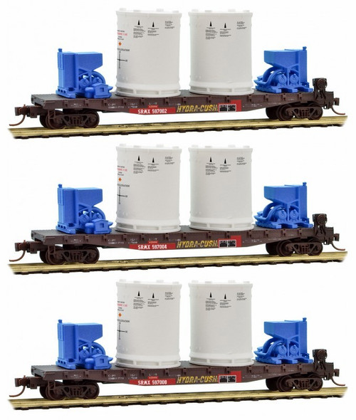Micro-Trains N 99301680 50' Flat Car with Fishbelly Side and Side Mount Brake Wheel, United Technologies with Titan Rocket Booster Load (3-Car Runner-Pack)