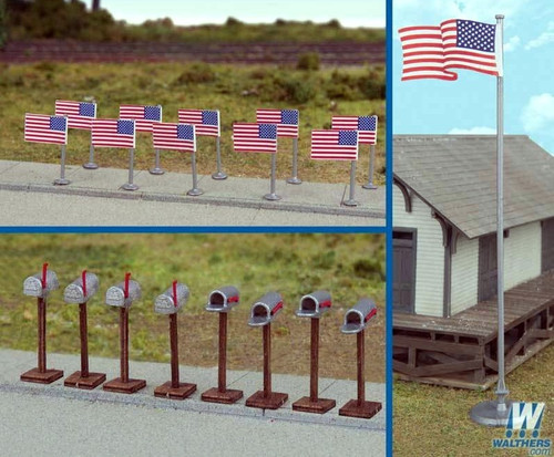 Walthers SceneMaster HO 949-4166 American Flags and Mailboxes (11 Post-1959 Flags, 8 Mailboxes)