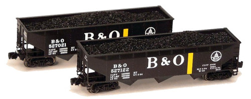 "Full Throttle Z FT4030-1 Open 40' Offset 70-Ton Hopper Set #1, Baltimore and Ohio ""Stripers"" (2-Pack)"