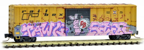 Micro-Trains Z 51044224 Weathered 50' Rib Side Box Car with Single Door, Railbox (Easter Graffiti)