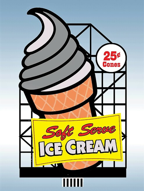 "Miller Engineering O/HO 88-3001 Large ""Soft Serve"" Ice Cream Billboard, Animated Neon Sign Kit"