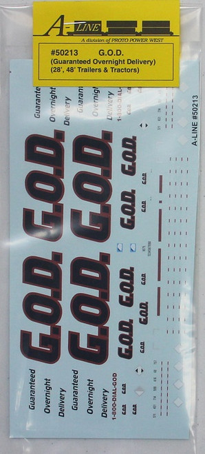"A-Line HO 50213 Guaranteed Overnight Delivery Decals for 28' and 48"" Trailers/Tractors"