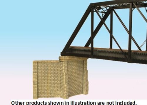 Monroe Models HO 930 Bridge Abutments with Wing Walls, Cut Stone Surface (2)