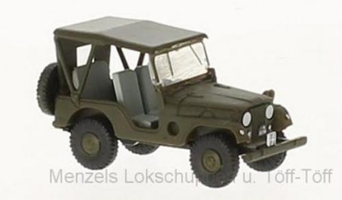 Brekina HO 58900 1950s-1980s Jeep Universal SUV, Swiss Army (Green)