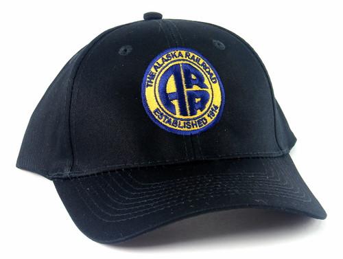 """Nissin Black Embroidered Adjustable Hat, The Alaska Railroad """"Established 1914"""" Logo"""