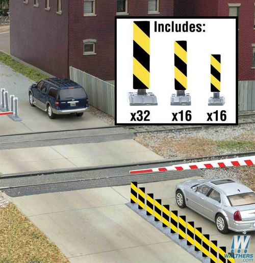 Walthers SceneMaster HO 949-4168 Quiet Crossing Lane Markers Kit (Yellow/Black Stripes)