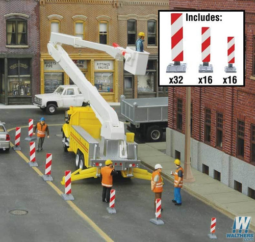 Walthers SceneMaster HO 949-4169 Construction Lane Markers Kit (White/Red Stripes)