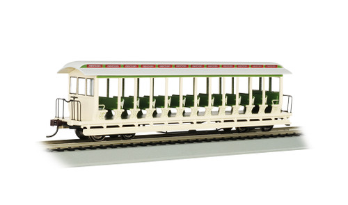 Bachmann HO 19344 Jackson Sharp Open Sided Excursion Car, Amusement Park (Cream/Green)