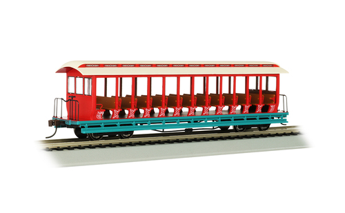 Bachmann HO 19345 Jackson Sharp Open Sided Excursion Car, Amusement Park (Cream/Red)