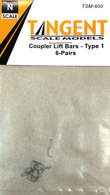 Tangent Scale Models N 600 Type 1 Coupler Lift Bars (6 Pairs)