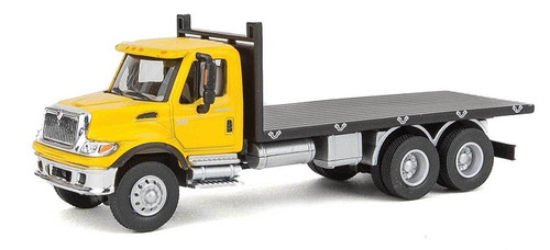Walthers SceneMaster HO 949-11653 International 7600 3-Axle Flatbed Truck, Yellow Cab/Black Flatbed