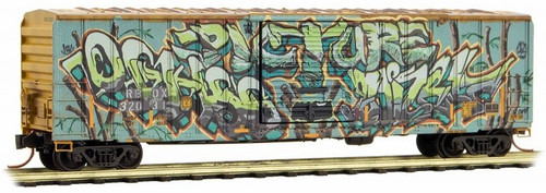 "Micro-Trains N 02544566 50' Rib Side Box Car with Single Door, Railbox (""Vegetarian Day"" Graffiti)"