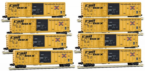 Micro-Trains N 99300816 50' Rib Side Box Car with Plug and Sliding Doors and No Roofwalk, Railbox (8-Car Runner Pack)