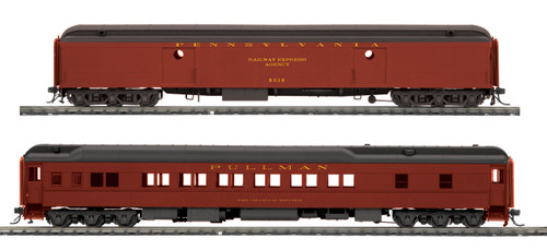 MTH HO 80-40002 Heavyweight Baggage and Sleeper Passenger Set, Pennsylvania Railroad (2-Car Set)