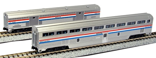 Kato N 1067122 Step Down Coach and Baggage 2-Car Set, Amtrak (Phase III)