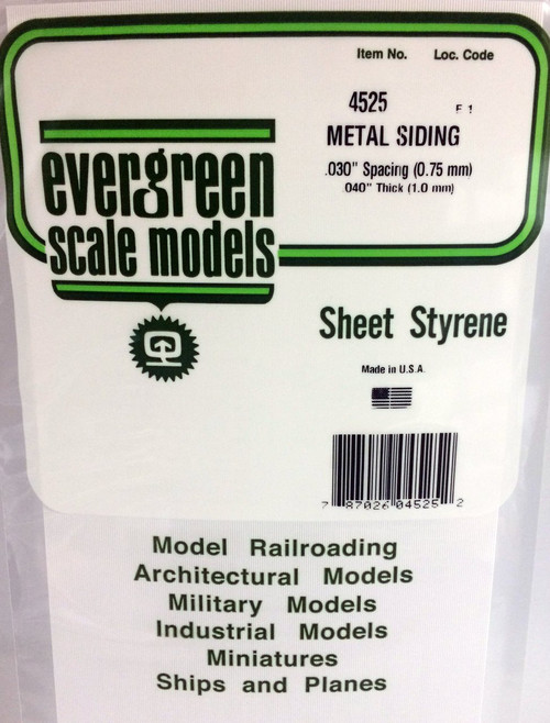 """Evergreen Scale Models 4525 Corrugated Metal Siding .030"""""""