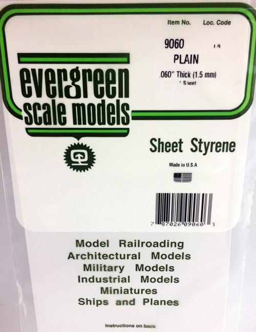 "Evergreen Scale Models 9060 6"" x 12"" Plain White Sheet .060"" (1)"