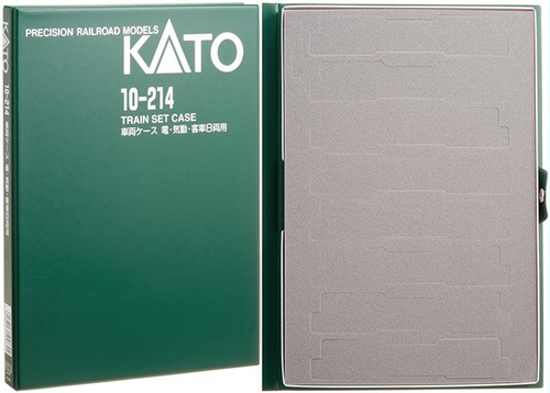 Kato N 10214 Plastic Train Case E with Cardboard Sleeve, Green Exterior with Pre-Perforated Gray Foam Interior