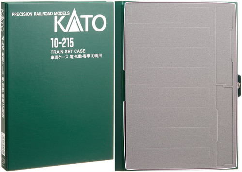 Kato N 10215 Plastic Train Case F with Cardboard Sleeve, Green Exterior with Pre-Perforated Gray Foam Interior