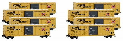 Micro-Trains Z 99400811 50' Rib Side Box Car with Plug and Sliding Door and No Roofwalk, Railbox (8-Car Runner-Pack)