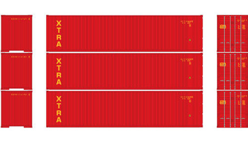 Athearn HO 29190 40' Containers with Flat Panel, XTRA (3)